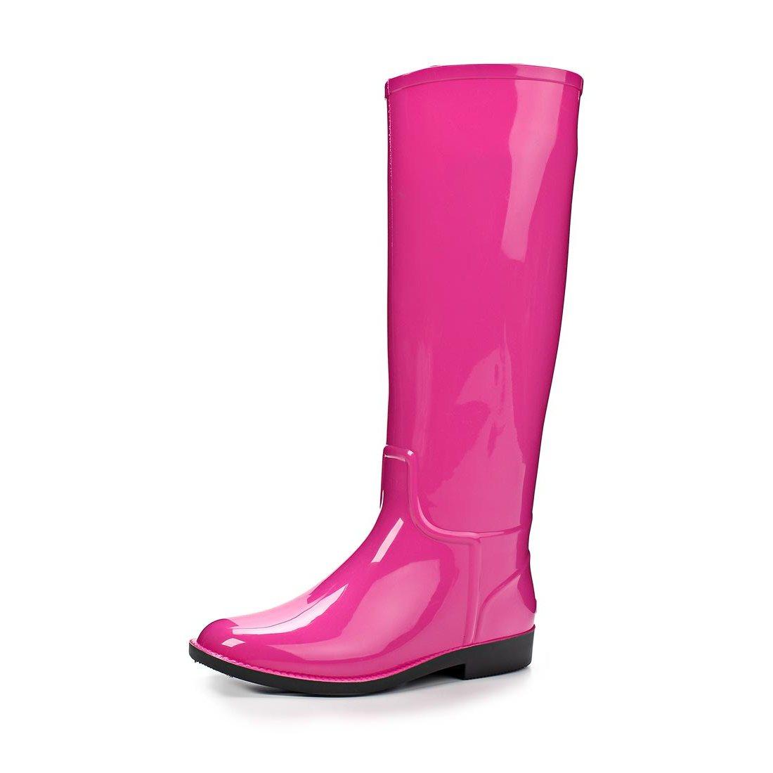 Женские сапоги из ПВХ, цвет розовый