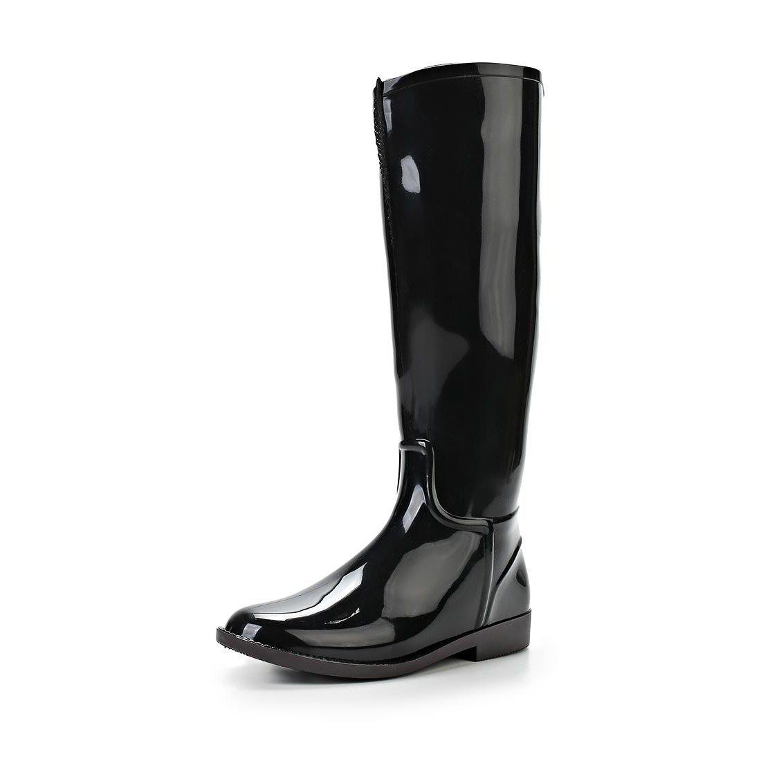 Женские сапоги из ПВХ, цвет черный
