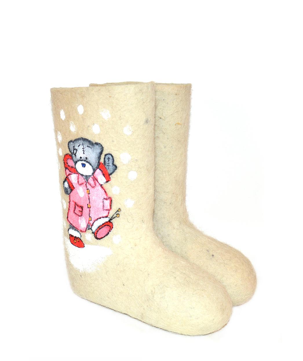Женские валенки «Розовый Тедди»