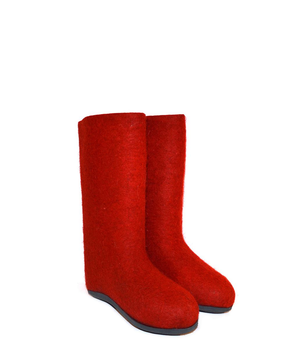 Женские красные валенки с подошвой