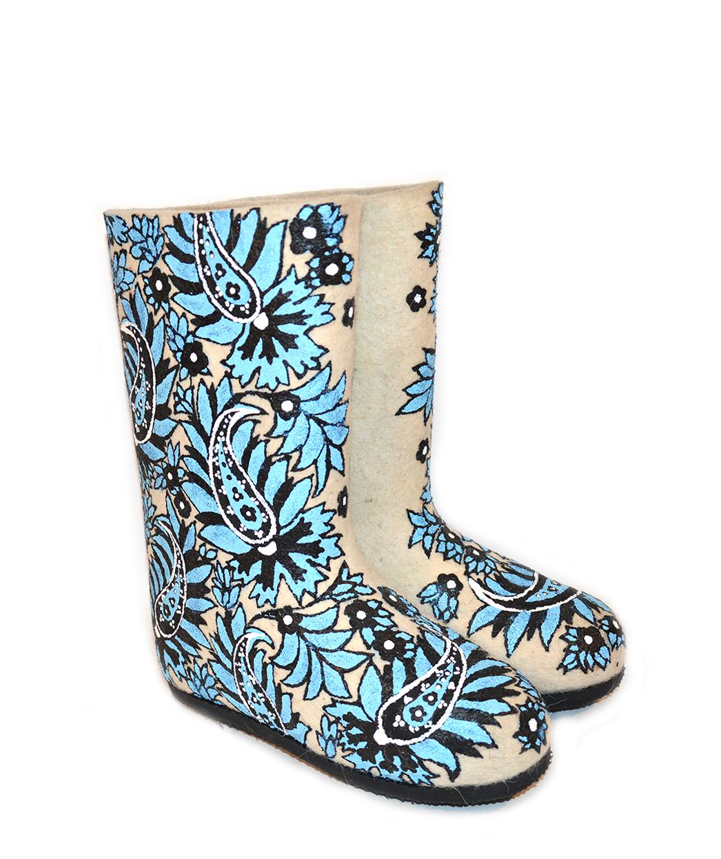 Женские валенки «Папоротник», цвет голубой