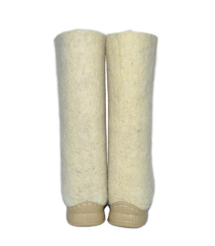 Белые женские валенки с подошвой