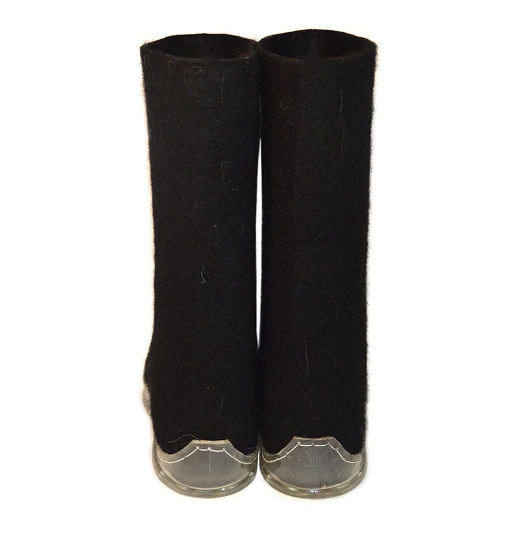 Черные мужские валенки с прозрачной подошвой