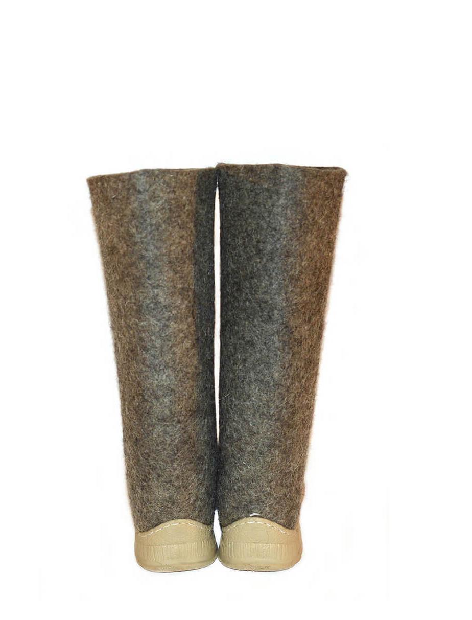 Женские серые валенки с подошвой