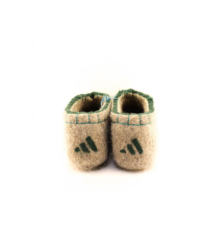 Мужские зеленые тапочки «Кеды Адидас»