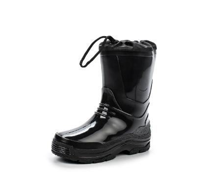 Детские утепленные сапожки из ПВХ с надставкой, цвет черный