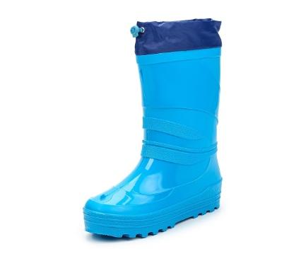 Школьные утепленные сапожки из ПВХ с надставкой, цвет голубой