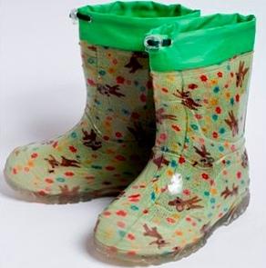 Малодетские утепленные сапожки из ПВХ с надставкой, цвет зеленый