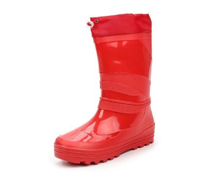 Школьные утепленные сапожки из ПВХ с надставкой, цвет красный