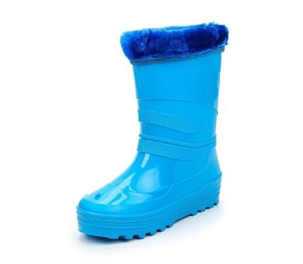 Школьные утепленные сапожки из ПВХ с меховым отворотом, цвет голубой