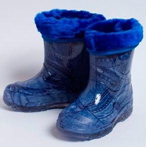 Малодетские утепленные сапожки из ПВХ с меховым отворотом, цвет синий