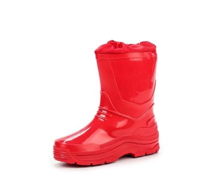 Детские утепленные сапожки из ПВХ с надставкой, цвет красный