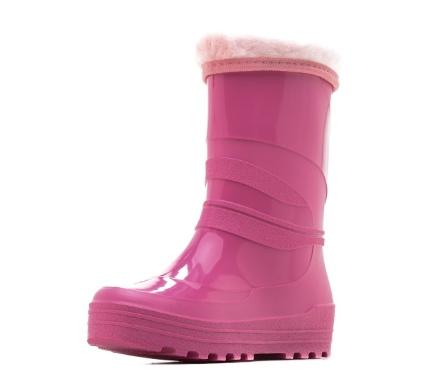 Школьные утепленные сапожки из ПВХ с меховым отворотом, цвет розовый