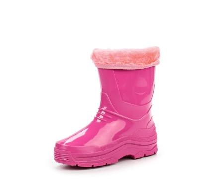 Детские утепленные сапожки из ПВХ с меховым отворотом, цвет розовый