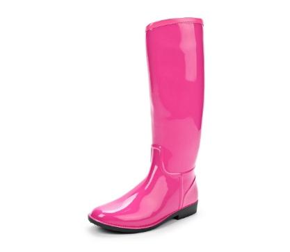 Женские сапоги из ПВХ с молнией, розовые