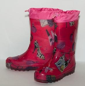 Малодетские утепленные сапожки из ПВХ с надставкой, цвет розовый