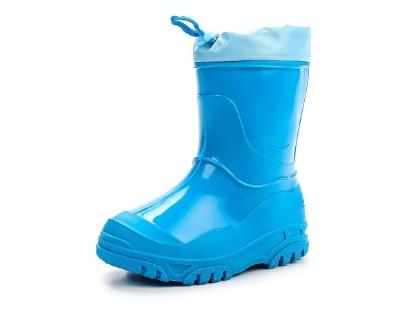 Малодетские утепленные сапожки из ПВХ с надставкой, цвет голубой