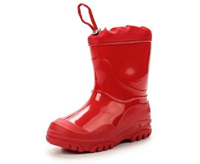 Малодетские утепленные сапожки из ПВХ с надставкой, цвет красный