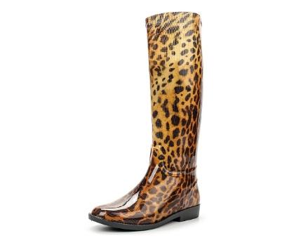 Женские леопардовые сапоги из ПВХ