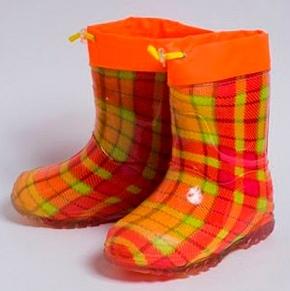 Малодетские утепленные сапожки из ПВХ с надставкой, цвет оранжевый