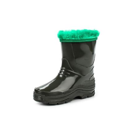 Детские утепленные сапожки из ПВХ с меховым отворотом, цвет зеленый