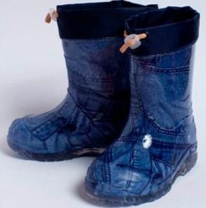 Малодетские утепленные сапожки из ПВХ, цвет синий