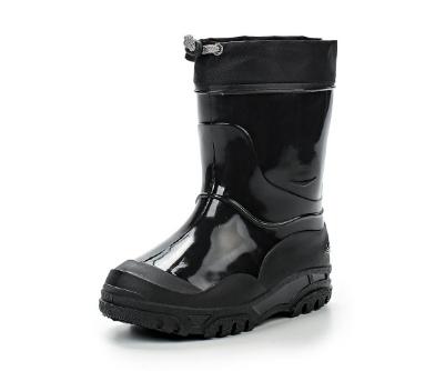 Малодетские утепленные сапожки из ПВХ с надставкой, цвет черный