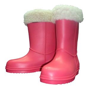 Детские утепленные сапожки из ЭВА с меховым отворотом, цвет розовый