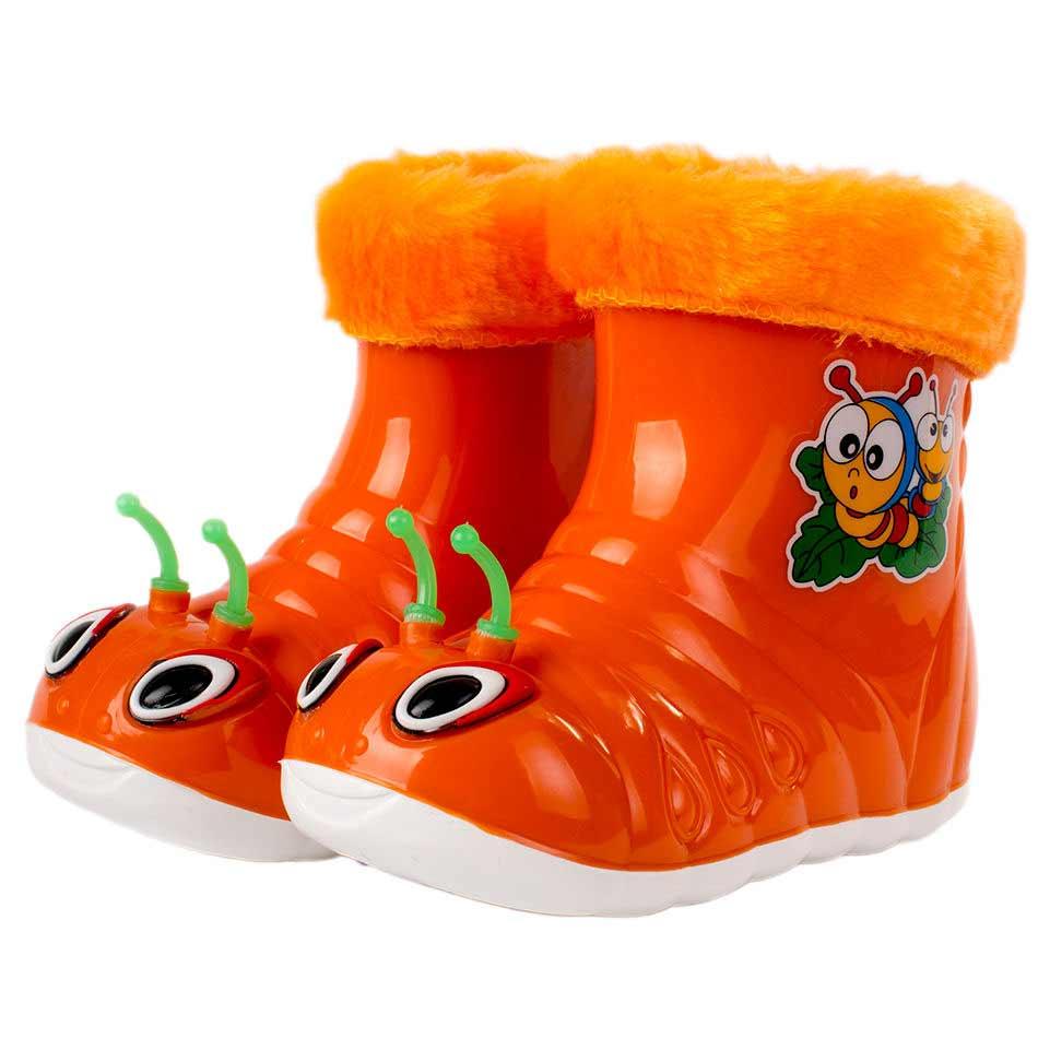 Детские утепленные сапожки  «Улитка», цвет оранжевый