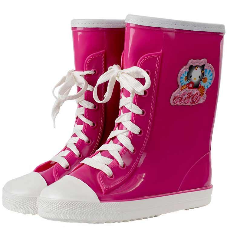 Детские утепленные однотонные сапоги-кеды на шнуровке с аппликацией, цвет розовый