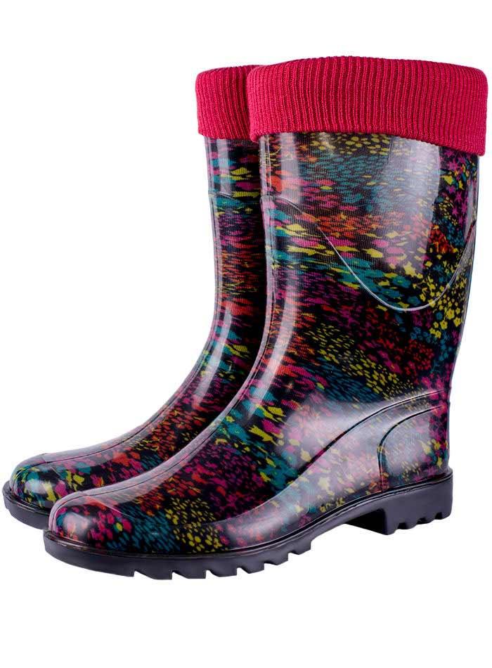 женские разноцветные утепленные сапоги ПВХ с трикотажной манжетой